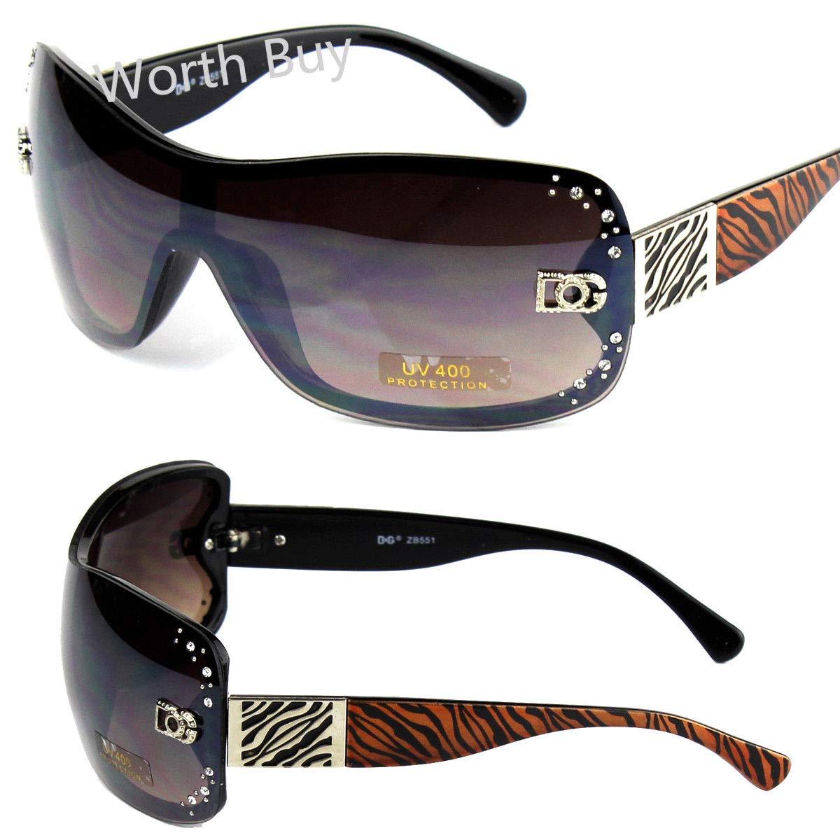 540e5c4276 Amazon.com  DG Womens Rhinestones Zebra Print Sunglasses Designer Shades  Fashion Shield Wrap  Clothing