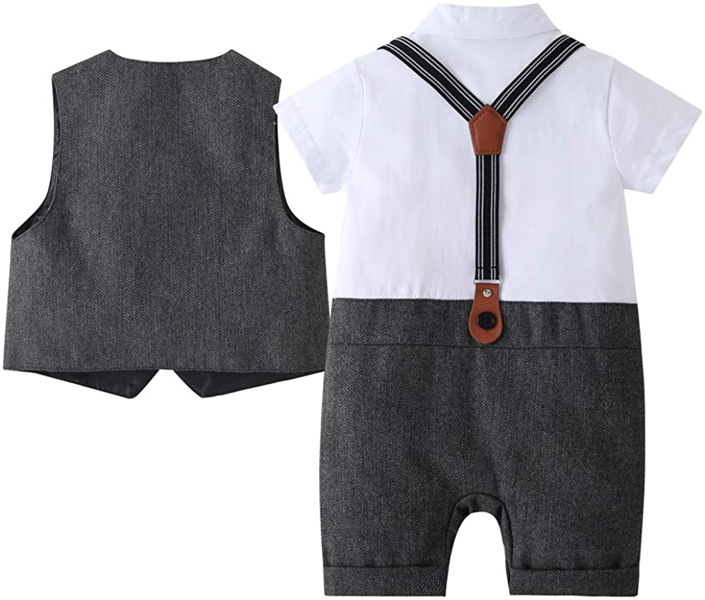 Baby Boys Gentleman Jumpsuit Tuxedo Outfits Bodysuit Newborn Romper with Bow Tie Wedding Suit Long Sleeve One Pieces Set