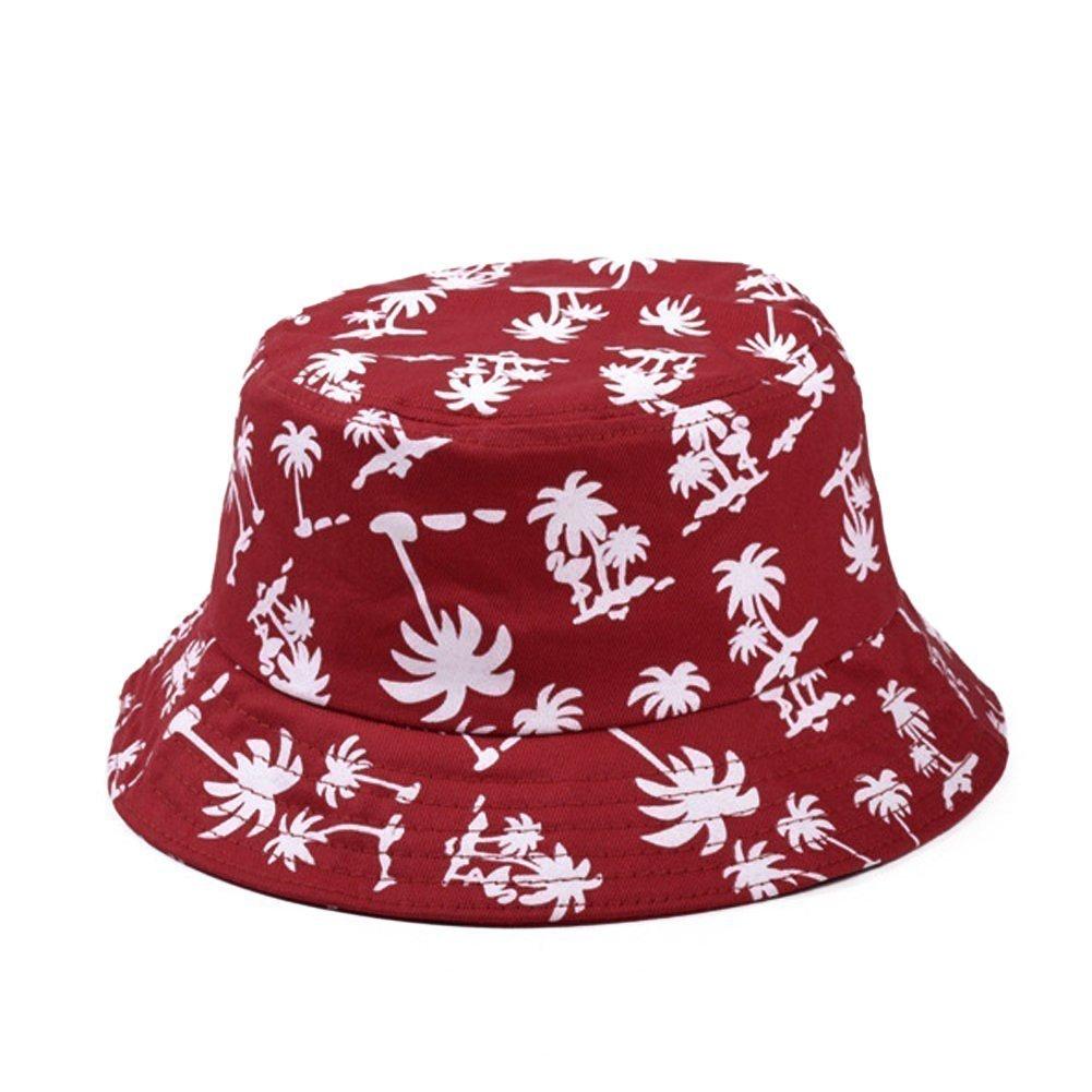HugeStore Unisex Kokosnussbaum Muster Sonnenhut Bucket Hat Fischerhut Sommerhut Sonnenhuete Strandhut Schlapphut Rot