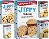 Jiffy Muffin Mix Variety Bundle, 7 oz (Pack of 5) includes 1-Box Banana Muffin Mix + 1-Box Oatmeal Muffin Mix + 1-Box Raspberry Muffin Mix + 1-Box Apple Cinnamon Muffin Mix + 1-Box Raspberry Muffin Mix