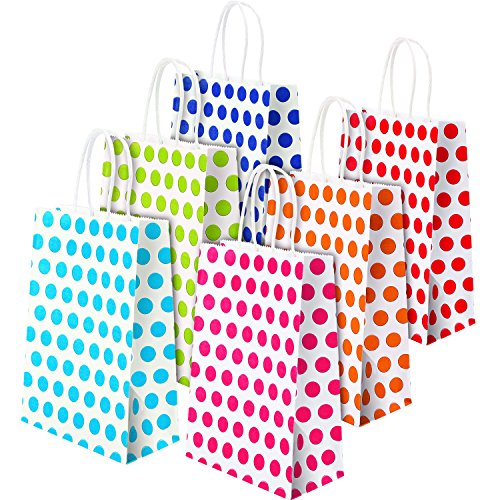 TecUnite 18 Pieces Paper Party Bags with Handle Coloured Dot Gift Bag for Birthday Wedding Parties, 6 Colors