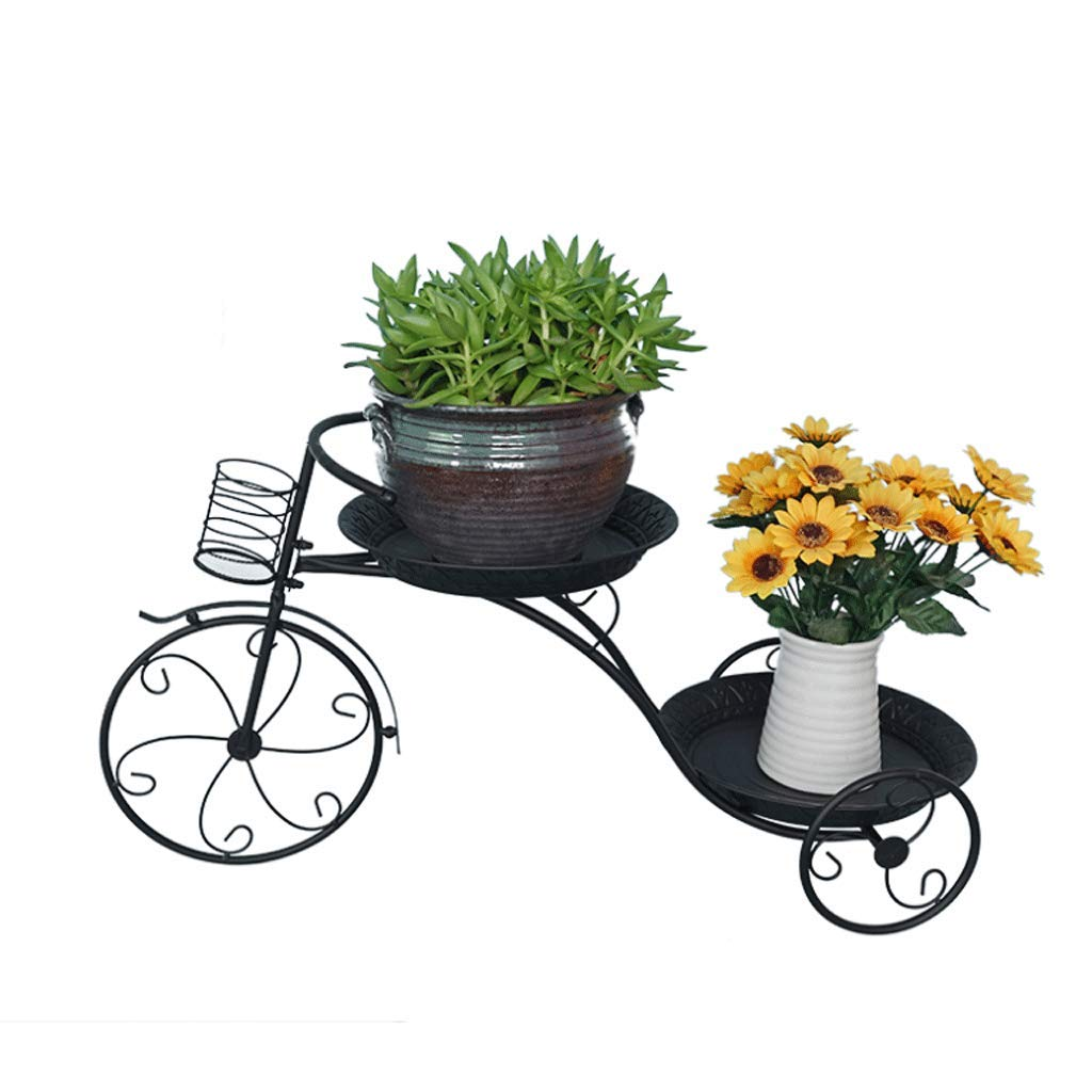 FLYSXP Flower Stand Balcony Flower Pot Rack Tricycle Wrought Iron Decorative Frame Multi-Layer Hanging Orchid Rack 69x39x26cm Flower Stand (Color : Black)