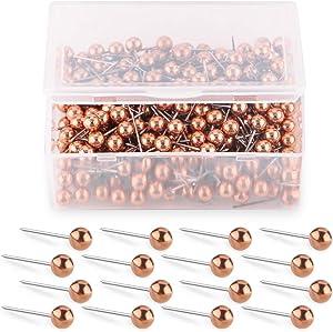 Yalis Push Pins Map Tacks 1/8-Inch Retro Metallic Color Beads Head Marking Push Pins 200-count (Rose Gold)