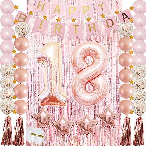 18th Birthday Decorations|18th Birthday Party Supplies Rose Gold-Confetti Latex Balloon,Tassel Garland,Tinsel Foil Fringe Curtains,Happy Birthday Banner as Gift, Favors,Photo Booth Props for Her Girl