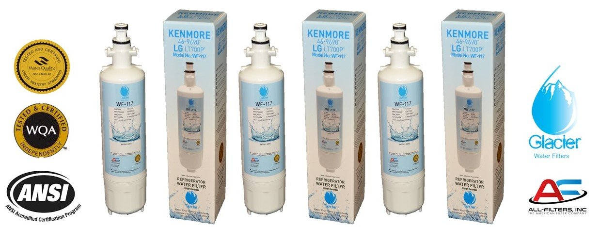 LG Refrigerator Water Filter Replacement - Fits LG Refrigerator Filter for LT700P, ADQ36006101, Kenmore 46-9690 - Compatible with LG Water Filter LT700P for Refrigerator (3)