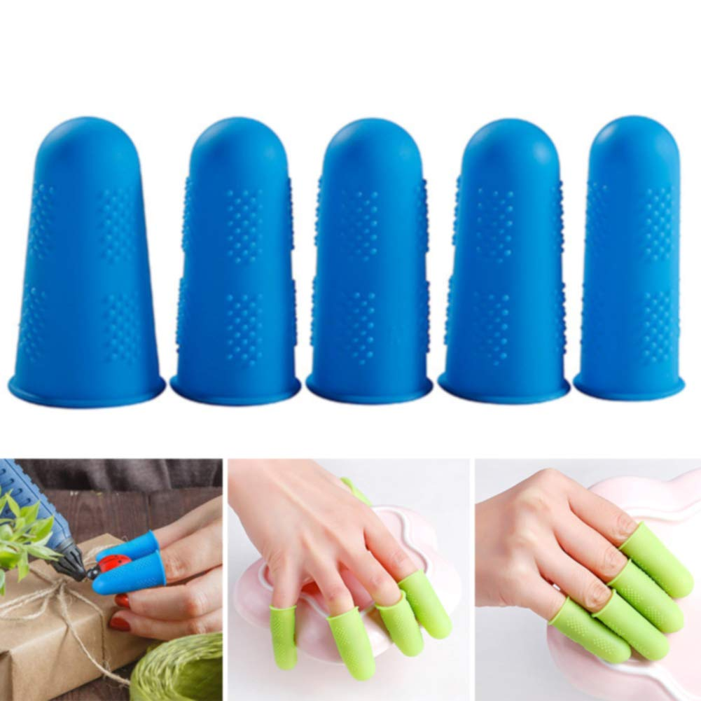 Finger Protectors 3/5pcs Elasticity Solid Anti-hot Durable Kitchen Accessories Silicone Plate Anti-slip Multicolor Caps Home Use High Temperature Resistant by Lovt (Image #6)