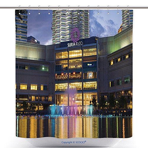 vanfan-Cool Shower Curtains Colorful Fountain Show With Music In Front Of Suria Mall_ Polyester Bathroom Shower Curtain Set With Hooks(60 x 78 - Mall Fountain Square
