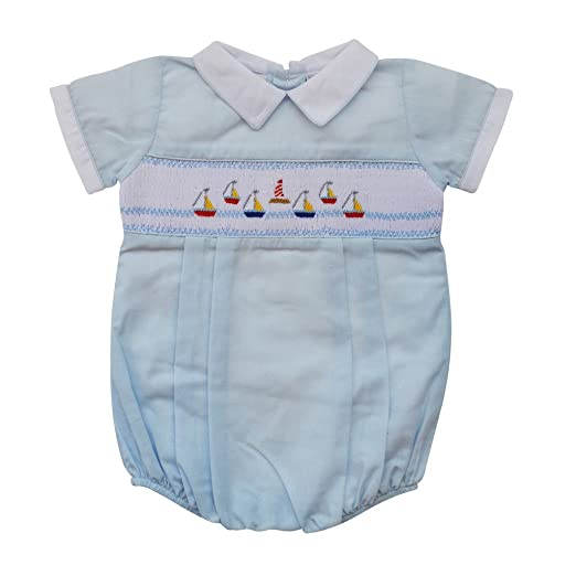 52d378057 Carriage Boutique Baby Boys Hand Smocked Classic Creeper - Blue Mini Sail  Boats, 6M