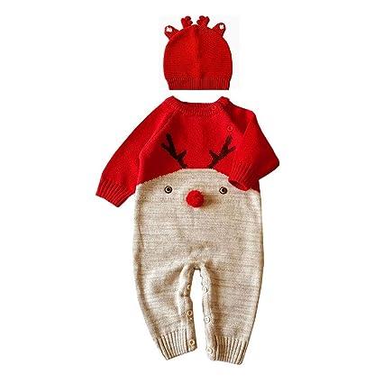 QSEFT: Disfraz de Navidad para bebé, 2 Piezas, de Punto para niños,