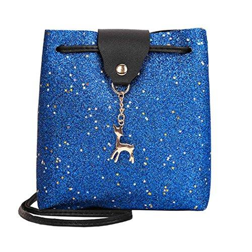 Y56 - Bolso cruzados para mujer Plateado negro small azul