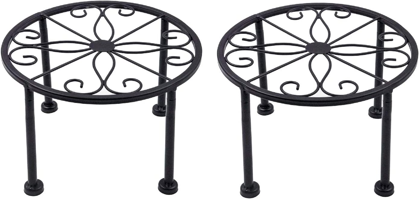 2 Pack Potted Plant Stand, Rustproof Iron Black Potted Holder Perfect for Heavy Duty Garden Container, Beverage Dispenser, Balcony, Porch, Patio