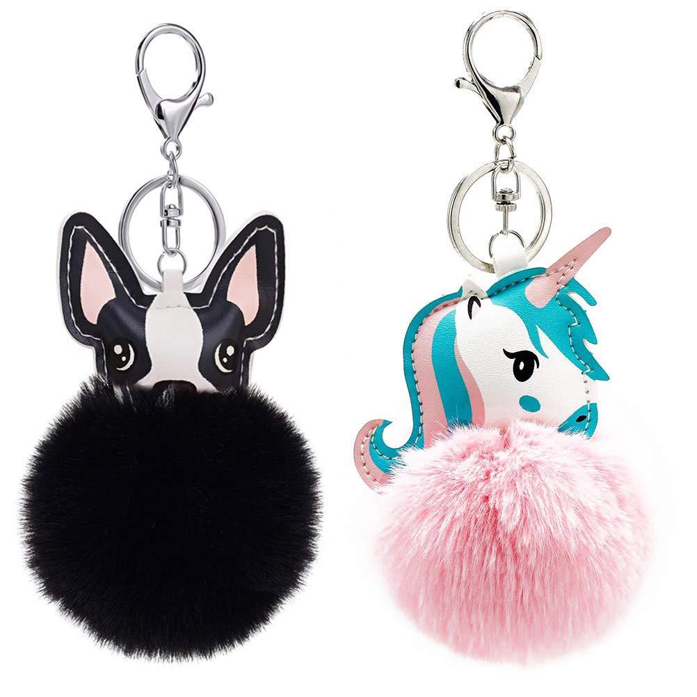 Vosarea Hair Ball Pom Pom Keychain Dog and Unicorn Wallet Backpack Pendant Keyring 2pcs