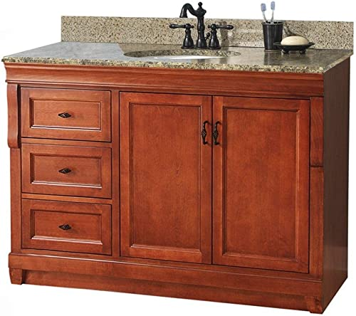 Foremost NACAQU4922DL Naples 49-Inch Width x 22-Inch Depth Vanity with Left Drawers and Granite Top Warm Cinnamon