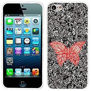 for iphone 4/4s Case, iphone4/4s case, full Protective unique Stylish Case slim durable Soft Cases Cover for iphone 4/4s iphone4/4s,Abstract drawing red butterfly on black floral background