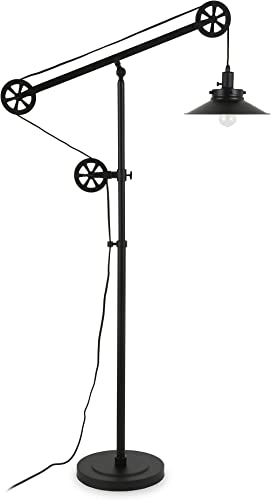 Henn Hart FL0147 Modern Industrial Pulley System Contemporary Blackened Bronze