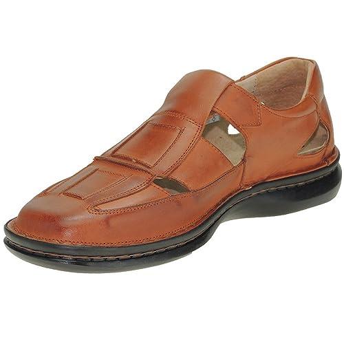 Sandalia Piel Velcro Para De Hombre 4015 Con Cuero Cosida Y Cactus N0vnw8m