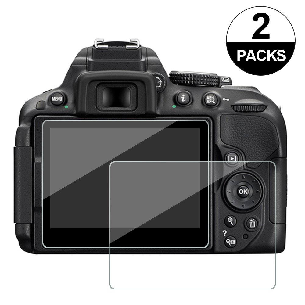 Awinner Glass for Nikon D5300 D5500 D5600, Camera Screen Protector Anti-Scratch Tempered Glas (2-Pack) AW-GLASS-D5300