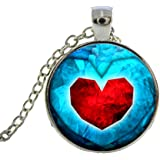 Charm Buddy Quality Handmade Zelda Heart Container Cabochon Pendant Necklace