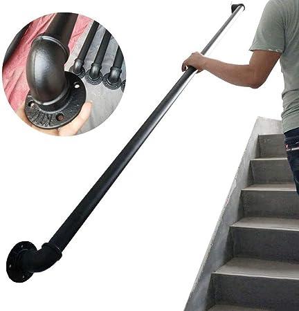 Pasamanos Escalera Barandilla de la vendimia for escaleras exteriores o interiores escalera interior al aire libre Uso Pasamanos Pasamanos Barandilla Kit de Soporte de carril - Negro metal de hierro f: Amazon.es: