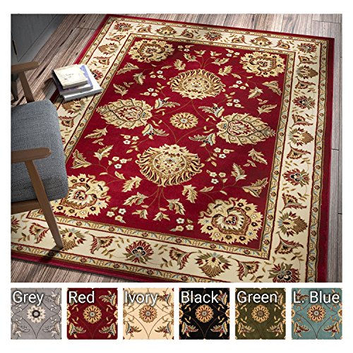 Oriental Dining Room - Sultan Sarouk Red Oriental Area Rug Persian Floral Formal Traditional Area Rug 7' x 9' Easy Clean Stain Fade Resistant Shed Free Modern Classic Contemporary Thick Soft Plush Living Dining Room Rug