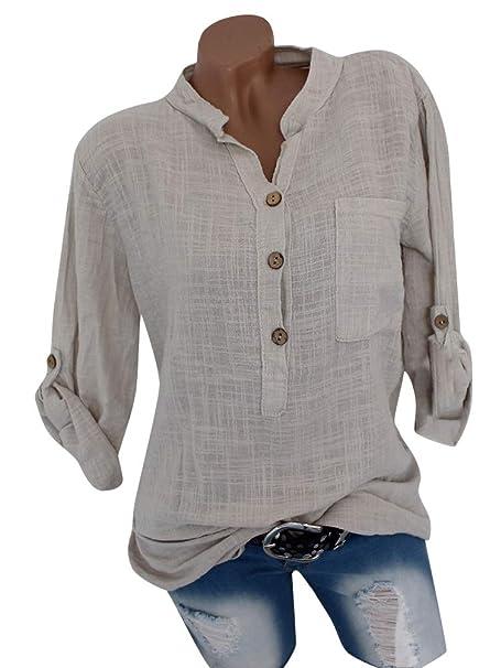 Minetom Mujeres Camisas Roll Up Sleeves Blusa de Bolsillo Suelta V Cuello Tops Camiseta Delgado Color