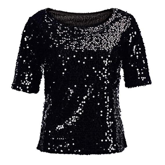 Lentejuelas de Las Mujeres Costura Suelta Casual Manga Corta Cuello Redondo Camiseta Top Performance Sudadera Camiseta Casual Elegantes riou: Amazon.es: ...