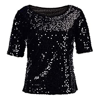 d1987ad5aa7ecb lotus.flower Fashion Women Sequins Sparkle Coctail Party Casual Top Blouse  Crop Tops Shirt (