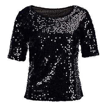 8225d98a31 lotus.flower Fashion Women Sequins Sparkle Coctail Party Casual Top Blouse  Crop Tops Shirt (