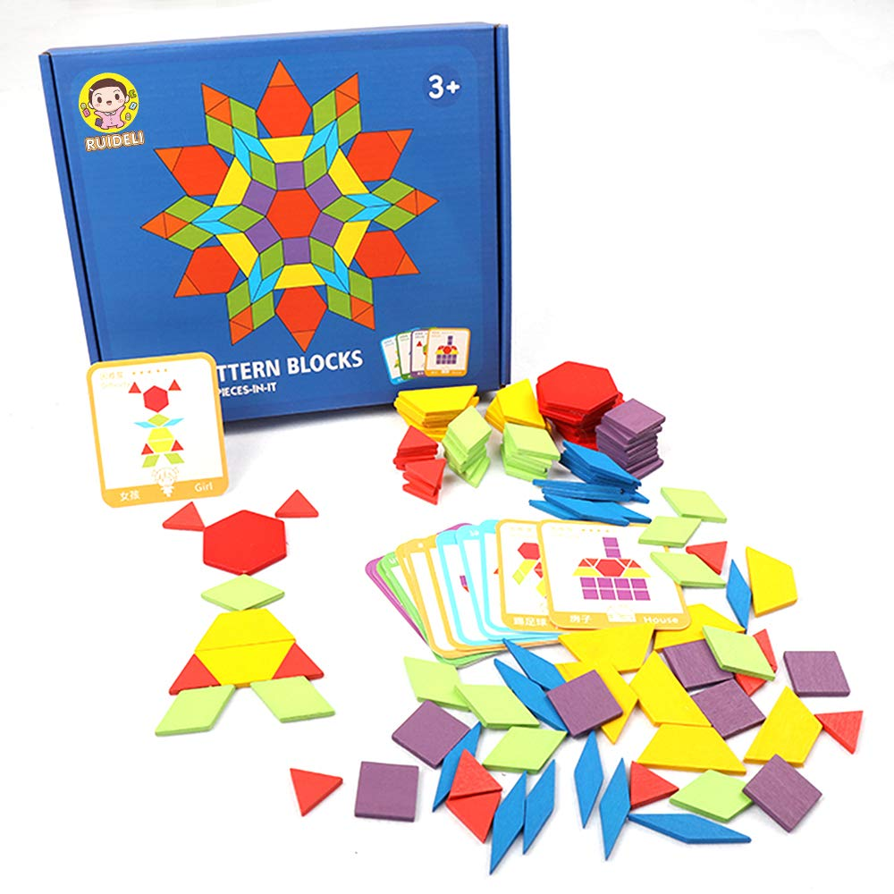 Best STEM Educational Montessori Tangram Toys with 24 Guide Cards RUIDELI Set of 155 Wooden Pattern Blocks Geometric Shapes Puzzles Brain Teaser Toys for Kids Ages 4-8
