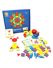 RUIDELI Set of 155 Wooden Pattern Blocks Geometric Shapes Puzzles Brain Teaser Toys for Kids Ages 4-8, Best STEM Educational Montessori Tangram Toys with 24 Guide Cards