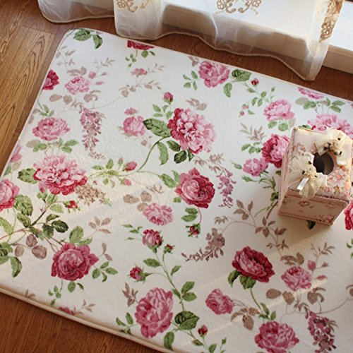 Romantic Country Style Floral Floor Mats Sweet Rose Print