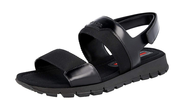 4c8949d3d4 Amazon.com   Prada Men's 4X3254 Black Brushed Spazzolato Leather Sandals EU  6 (40) / US 7   Sandals
