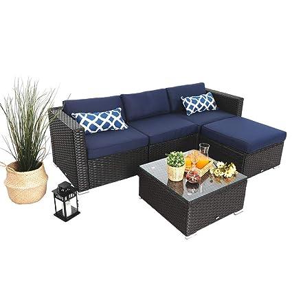 PHI VILLA 5 Piece Patio Rattan Furniture Set Outdoor Furniture Wicker Sofa  Conversation Sofa Set, Navy-Blue