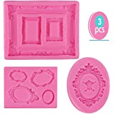 SAKOLLA Photo Frame Fondant Mold - 3 Pack Picture Frames Silicone Mold for Cake Decorating, Sugar, Gum Paste, Chocolate, Cookies, Resin, Polymer Clay - Pink