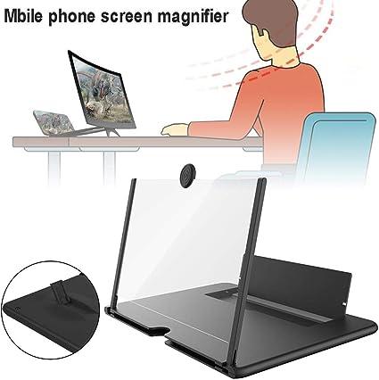 avec Support en Bois Loupe d/écran HD de 12 Pouces pour Smartphone pour Tous Les Smartphones Film Vide Clip Stable pour t/él/éphone Portable /Écran Anti-rayonnement