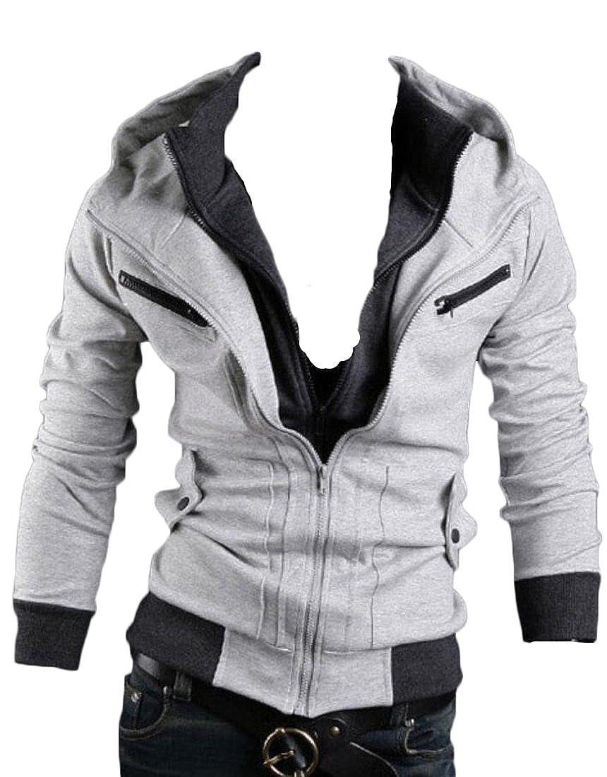 Zantt Mens Double Zipper Long Sleeve Pockets Zipper Jacket Hoodies Sweatshirt