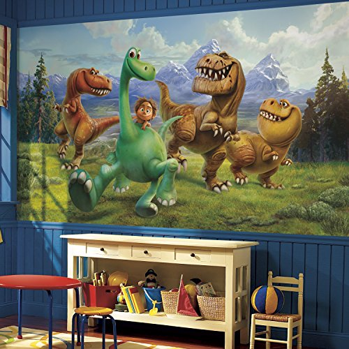 RoomMates JL1372M The Good Dinosaur Xl Chair Rail Prepasted Mural 6' x 10.5' - (Dinosaur Wallpaper Mural)