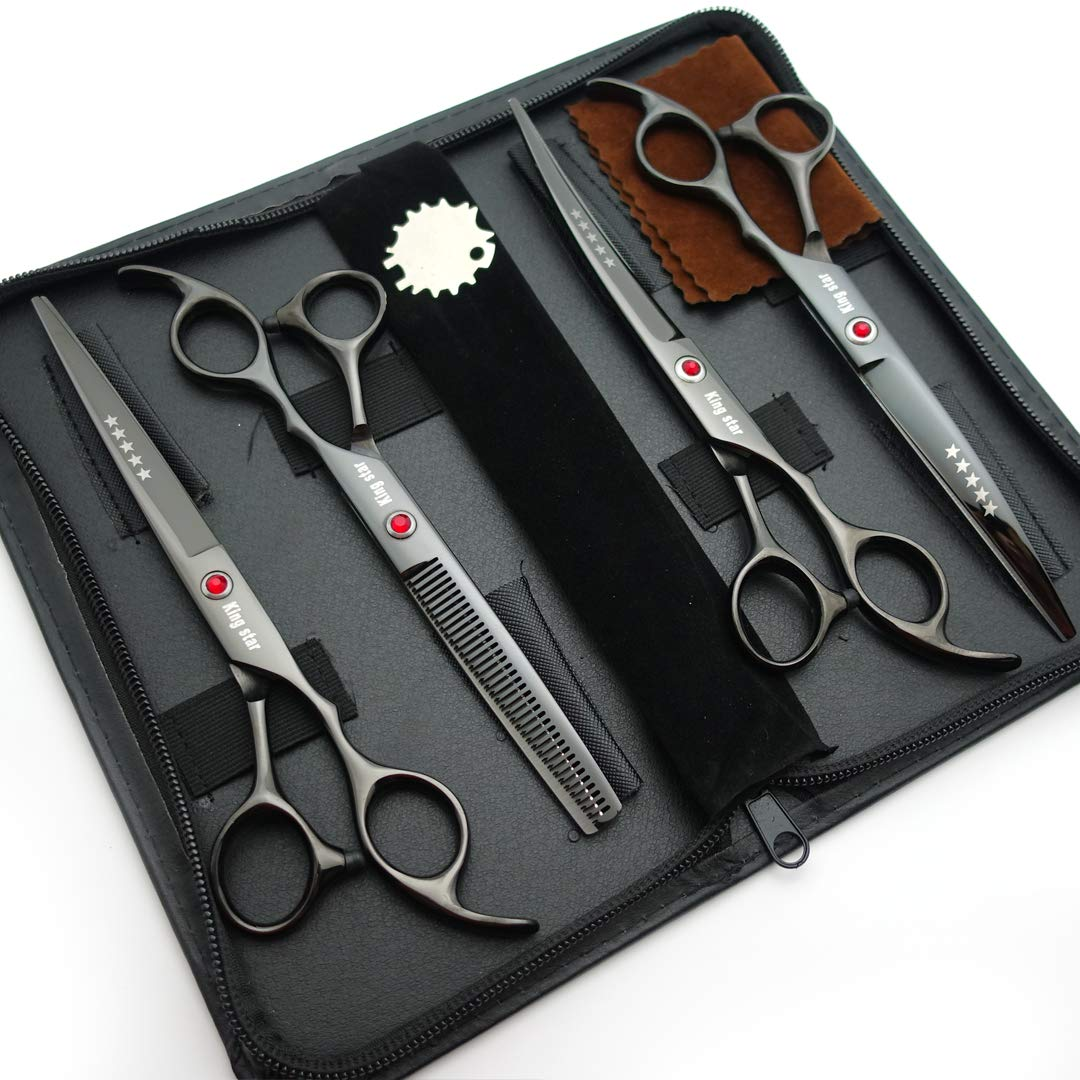 7.0in Titanium Black Professional Pet Grooming Scissors Set,Straight & Thinning & Curved Scissors 4pcs Set for Dog Grooming,(Black) by Kingstar (Image #2)