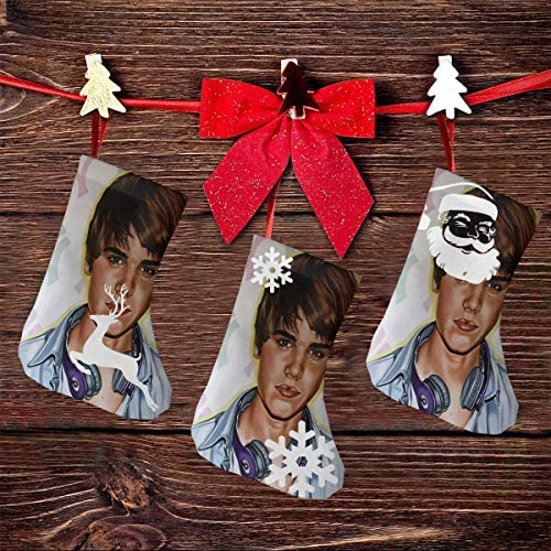 クリスマスの日の靴下 (ソックス3個)クリスマスデコレーションソックス アイドルミュージックJustin Bieber クリスマス、ハロウィン 家庭用、ショッピングモール用、お祝いの雰囲気を加える 人気を高める、販売、プロモーション、年次式