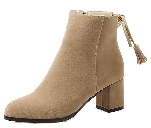 Easemax Femme Mignon Chaussure Montante Talon Bloc Cheville Bottines  Abricot 33 EU 16c948b22c2b
