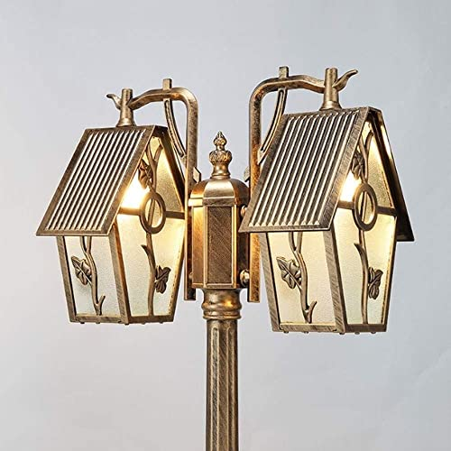 Antique Bronze 2M2.3M2.6M2.9M3.2M Street Light Outdoor Column Lamp for Courtyard Park Landscape High Pole 2-Light Garden Glass Lantern Size 3.2M