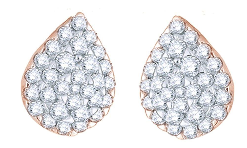 Weißszlig;, Tropfen-Ohrringe 14 Karat 585 Weißszlig;Gold Diamant (2 Karat) 14 Karat RotGold