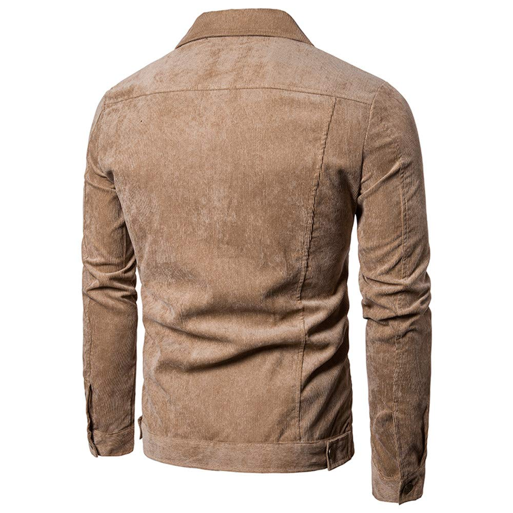 Mens Autumn Winter Jacket Pure Color Pocket Casual Chinese Tunic Corduroy Coat