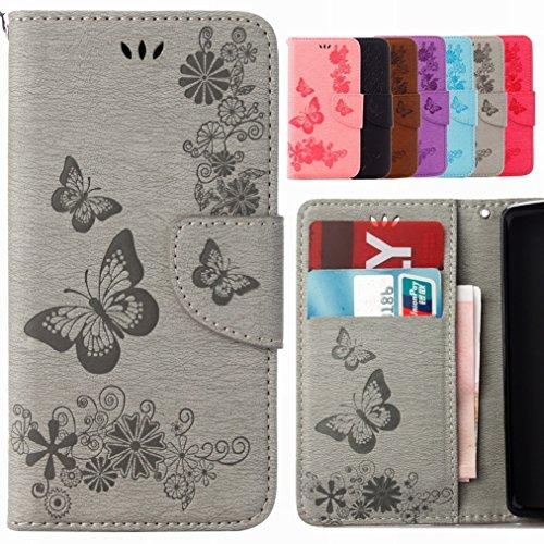 Yiizy Huawei P10 Custodia Cover, Farfalla Fiore Design Sottile Flip Portafoglio PU Pelle Cuoio Copertura Shell Case Slot Schede Cavalletto Stile Libro Bumper Protettivo Borsa (Grigio)