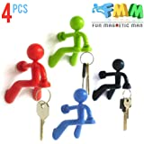 4 pcs Refrigerator Fridge Key Magnet Holder with Wall Climbing Man Design and Strong Magnet Holds Up to 1.4 lbs for Home Office Present Decoration in Black Green Red Blue