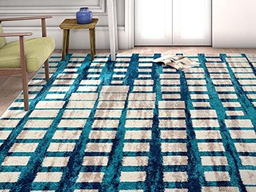 x 10'6 Mid-century Modern Blue shaded pattern soft Rug modern Velvety bright soft Area Rug (Velvety Soft Plush)