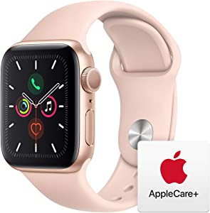 Apple Watch Series 5 (GPS, 40mm) - Gold Aluminum Case with Pink Sport Band with AppleCare+ Bundle