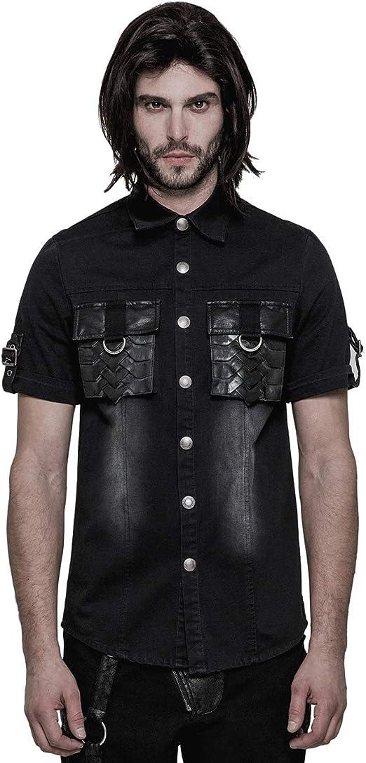 Camisa para Hombre Top Gothic Steampunk Keel Camisa de Manga Corta: Amazon.es: Ropa y accesorios