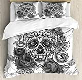 Sugar Skull Duvet Cover Set Queen Size by Ambesonne, Monochrome Skull with Roses Leaves and Diamond Shape Folklore Festival Print, Decorative 3 Piece Bedding Set with 2 Pillow Shams, Grey White