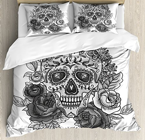 Ambesonne Sugar Skull Queen Size Duvet Cover Set, Monochrome Skull with Roses Leaves and Diamond Shape Folklore Festival Print, Decorative 3 Piece Bedding Set with 2 Pillow Shams, Grey ()